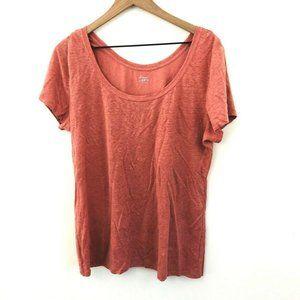 LOFT Coral Pink Short Sleeve Linen Tee L